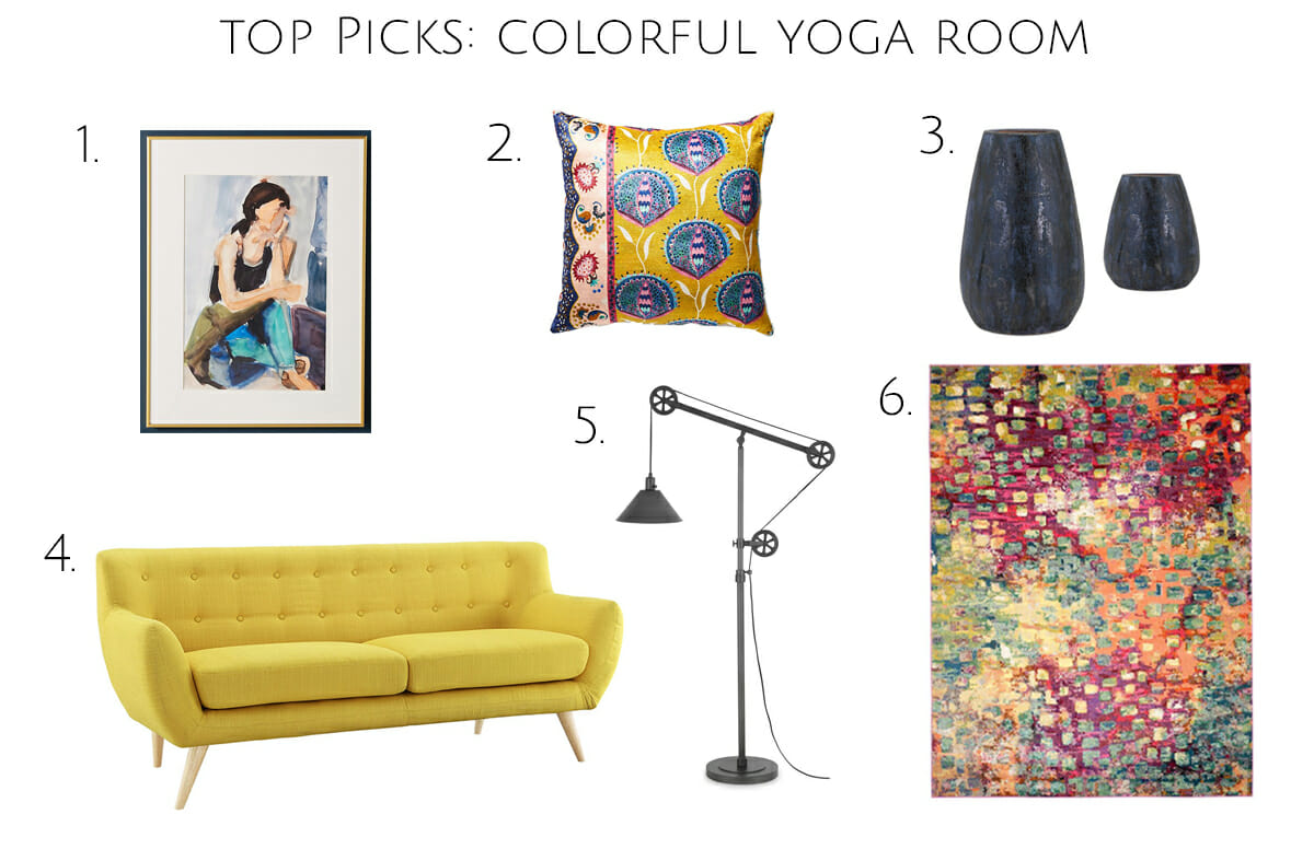 colorful yoga room design shop the look