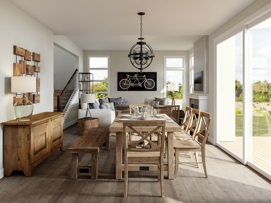 modern home décor with raw wood and black accents