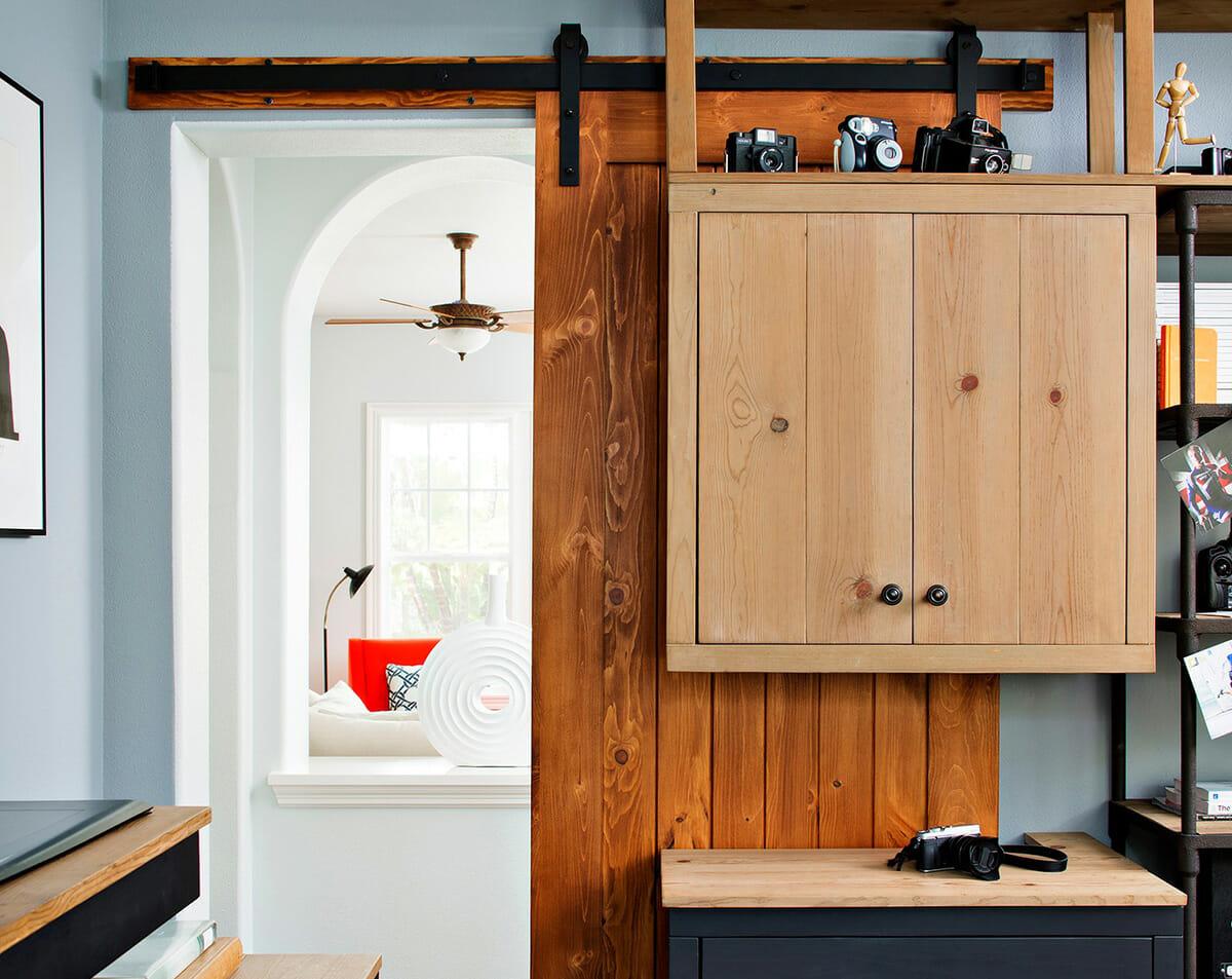 small studio apartment sliding door