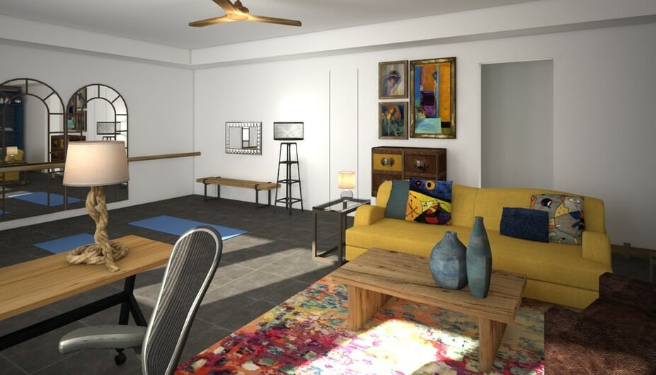 zen yoga room ideas with colorful upholstery