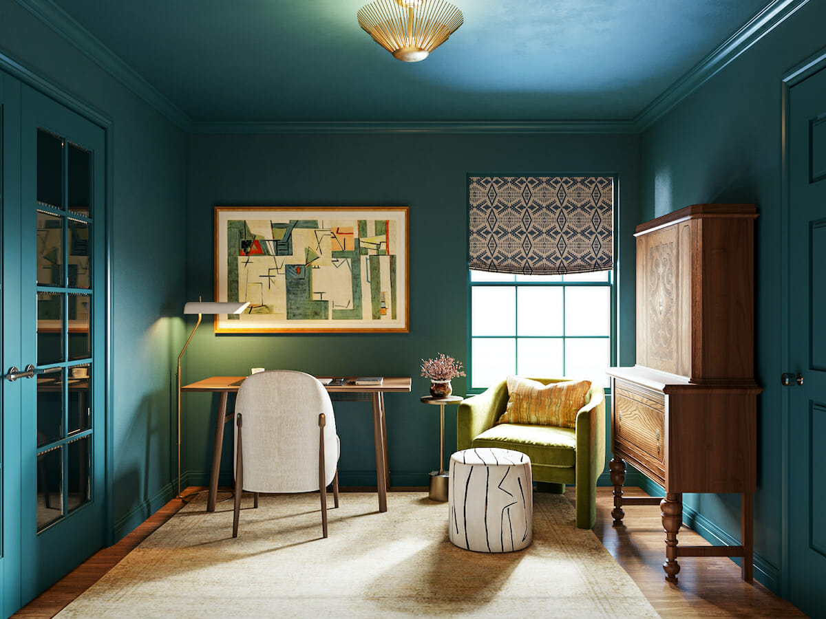 All over color for an affordable home office interior design