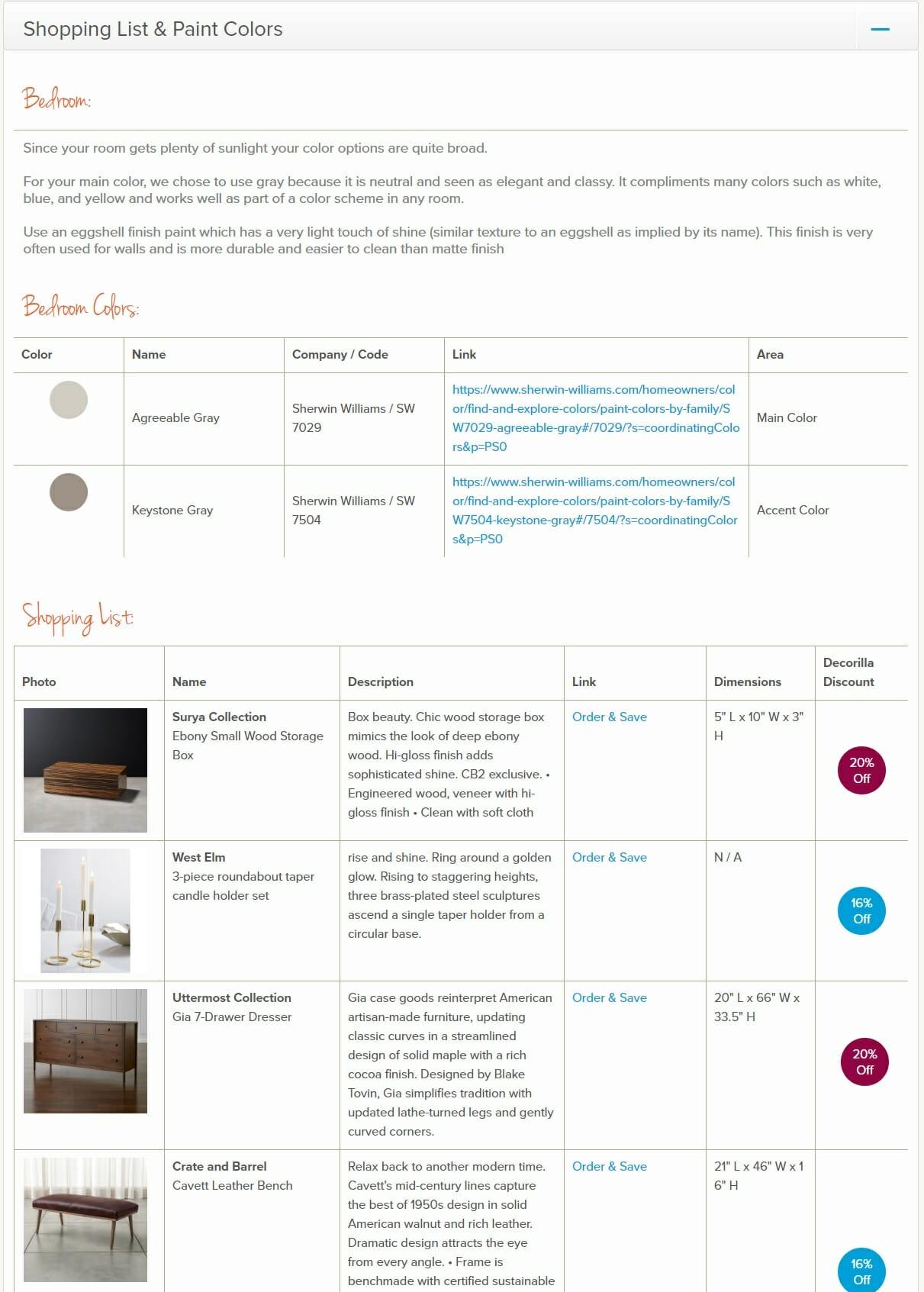 decorilla vs modsy comparison shopping list