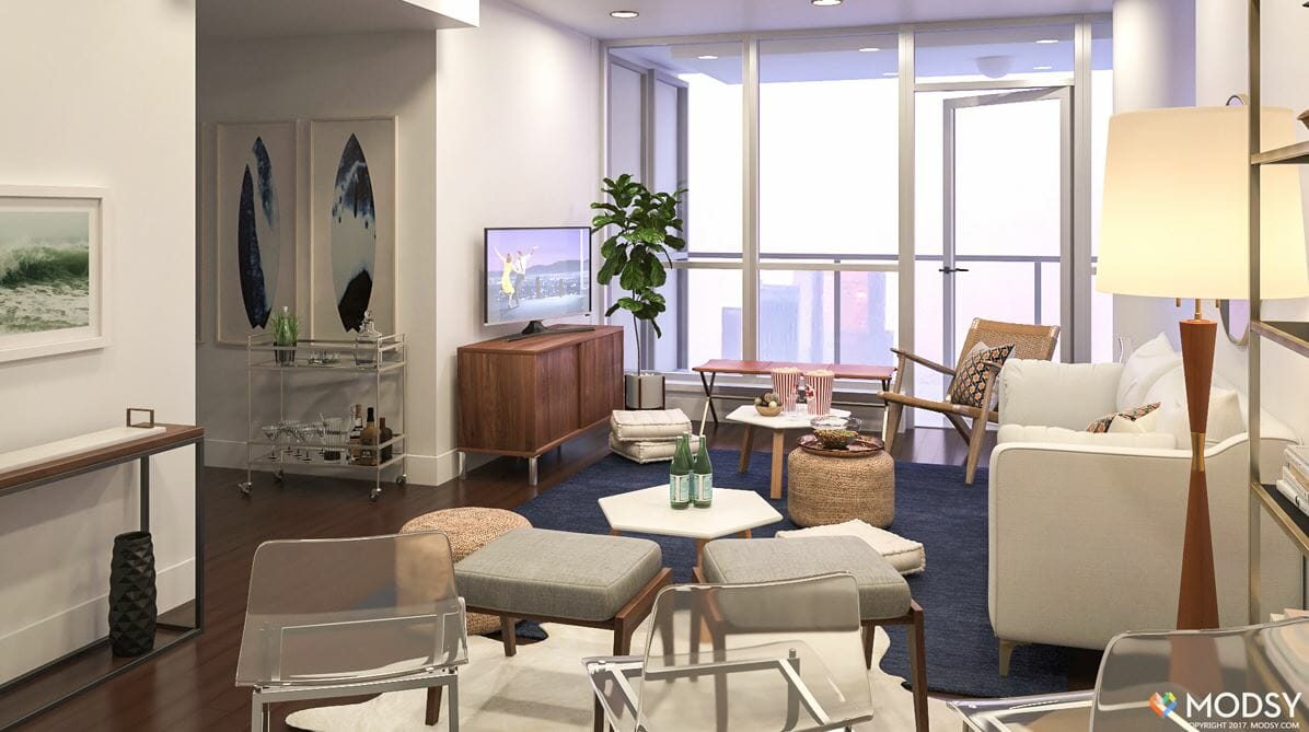 decorilla vs modsy living room 3d rendering