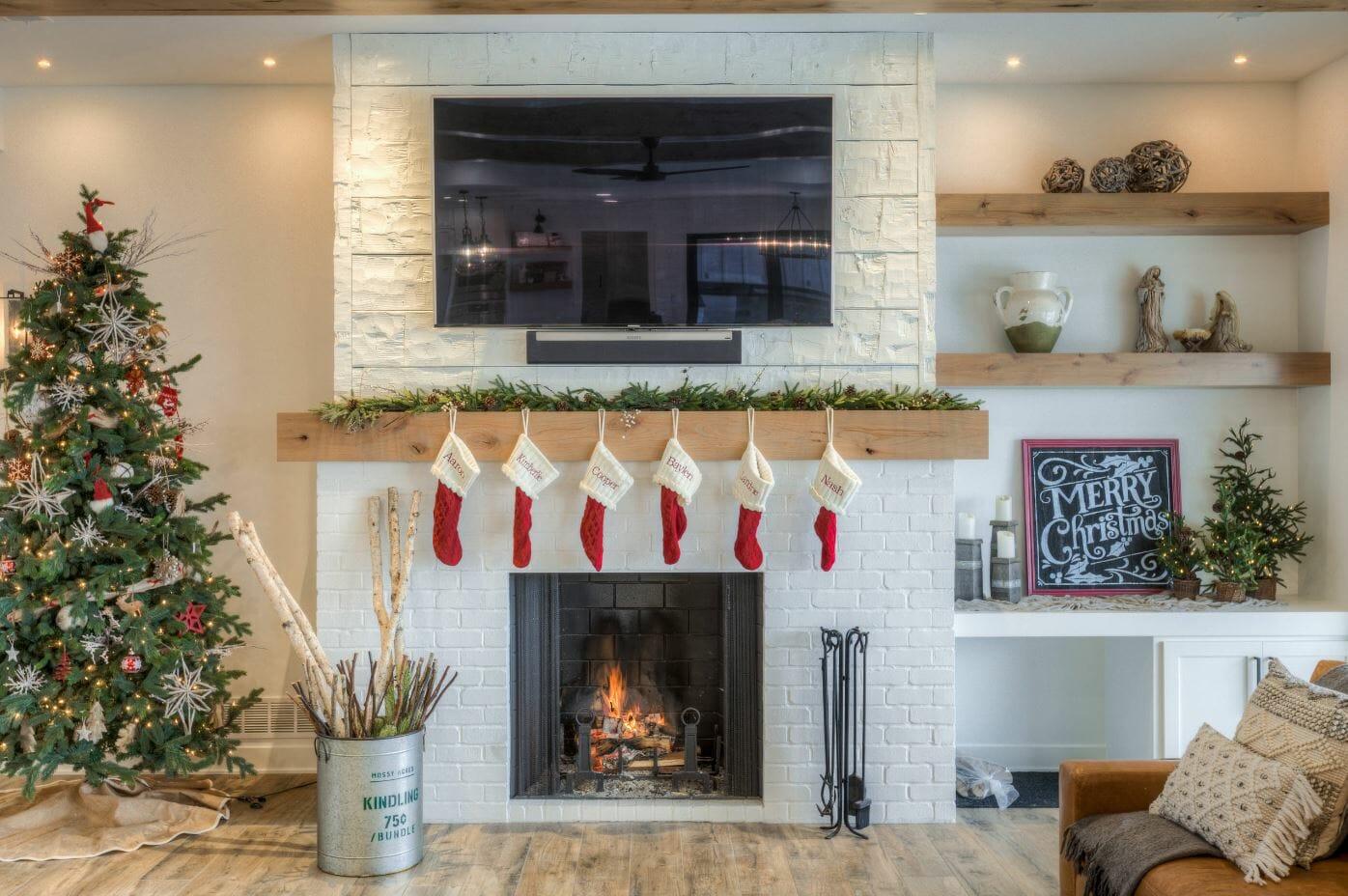 winter fireplace decor