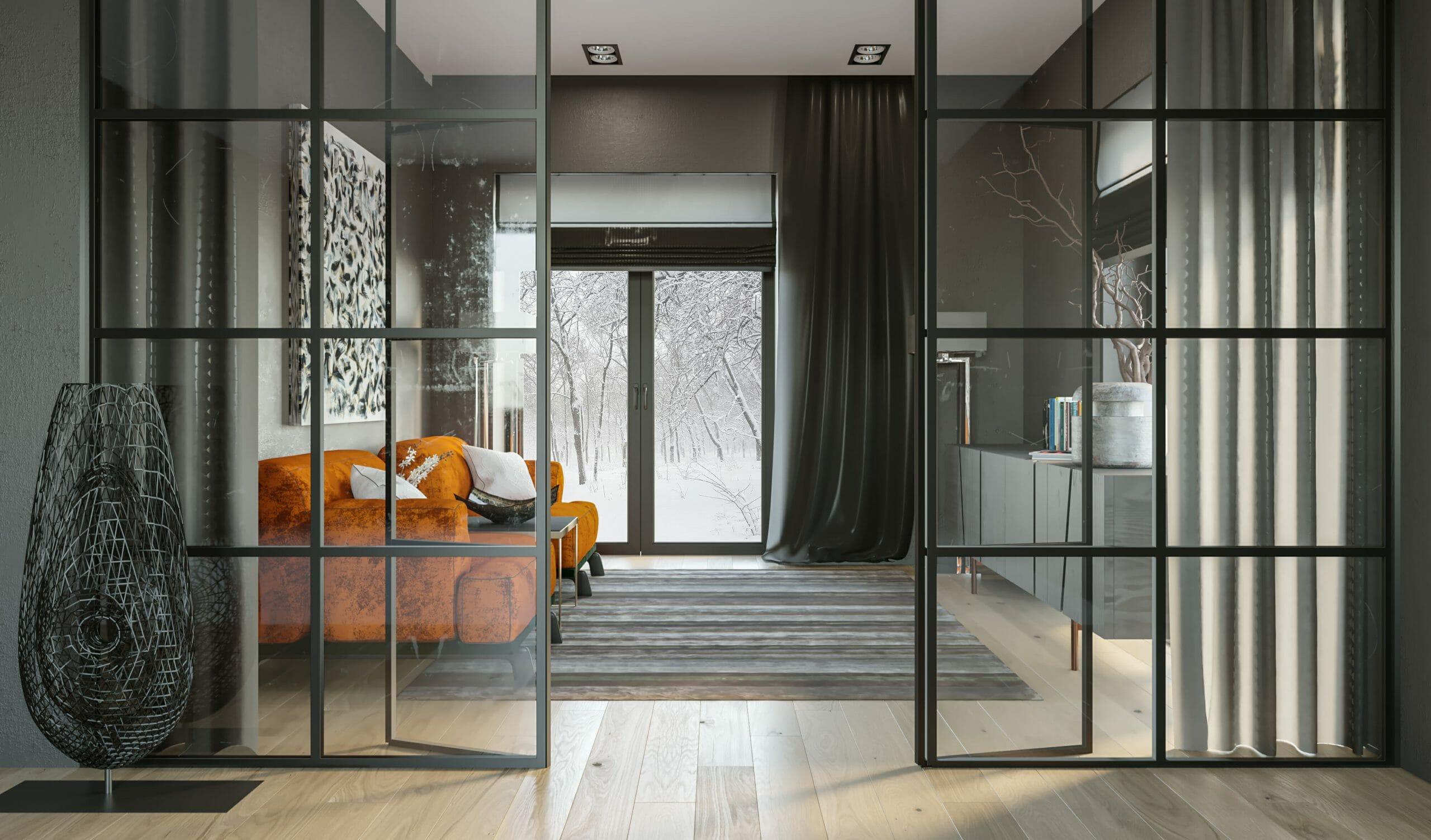studio apartment layout ideas - decorilla 3d rendering