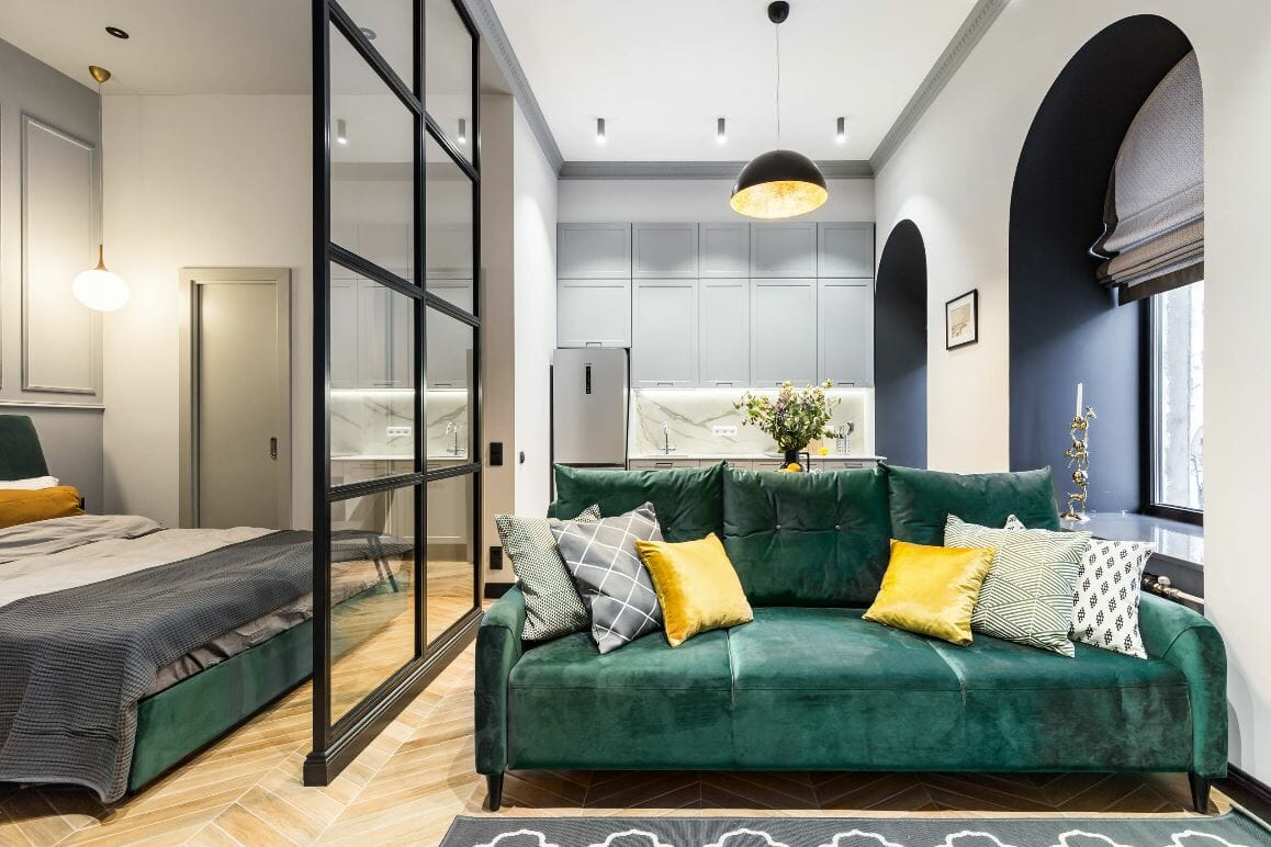 studio apartment layout ideas green accents