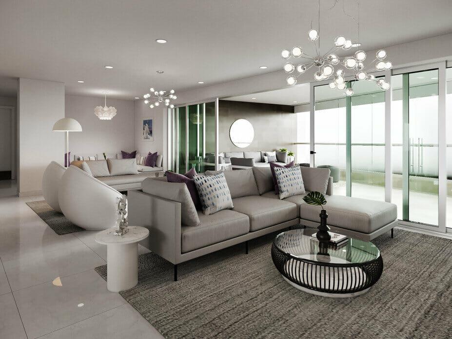 Contemporary condo design stone gray living room