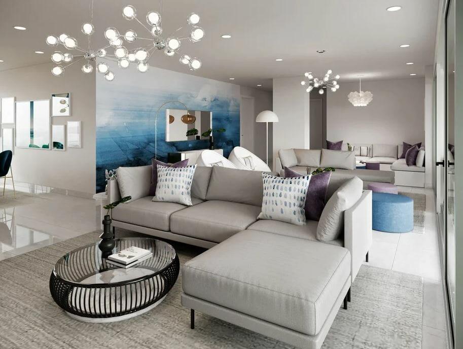 Contemporary condo interior with impressive art features