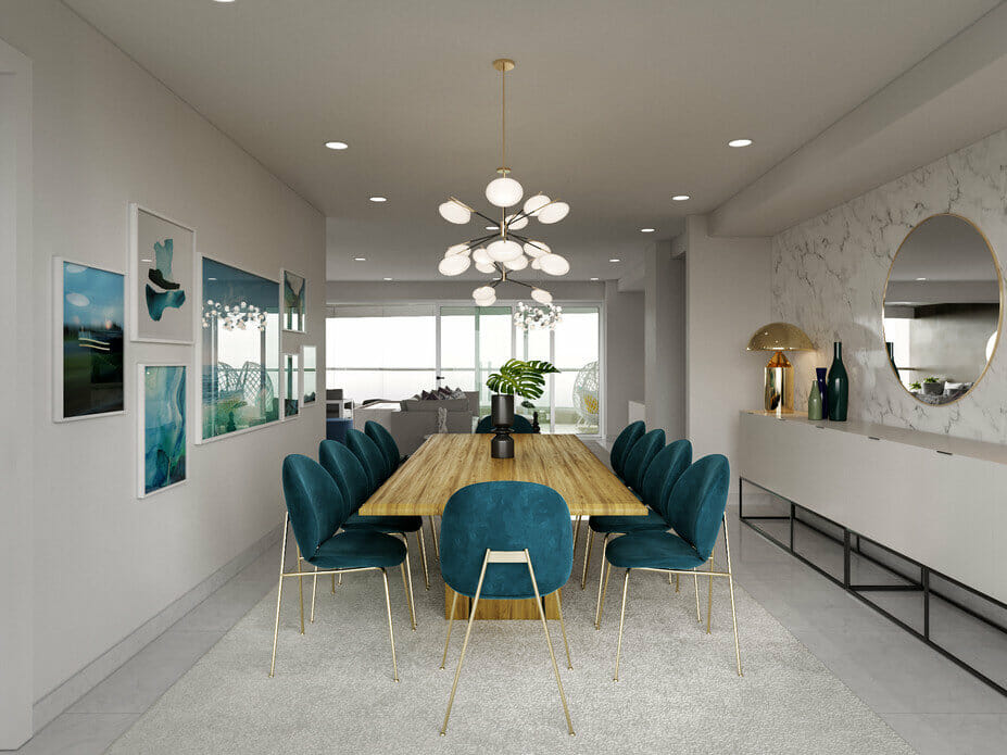 Contemporary dining room with teal accents and a marble feature wall