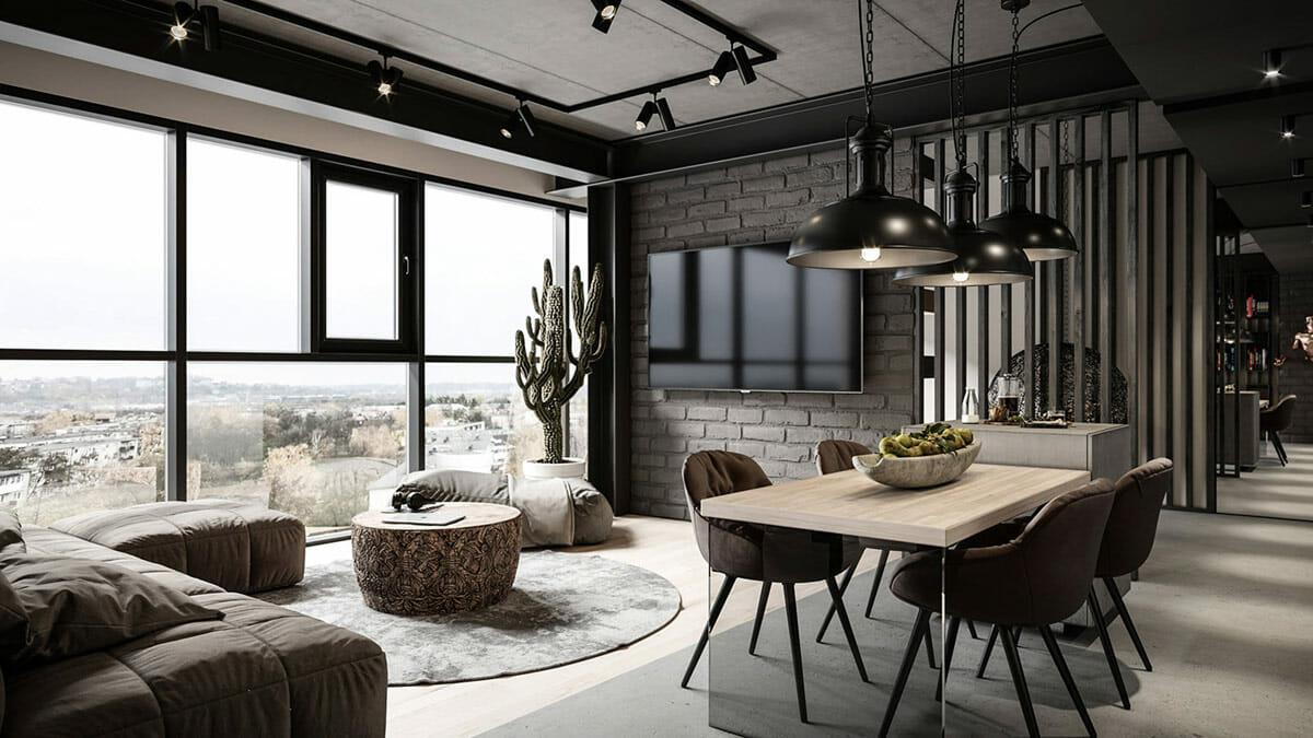 Moody industrial interior design