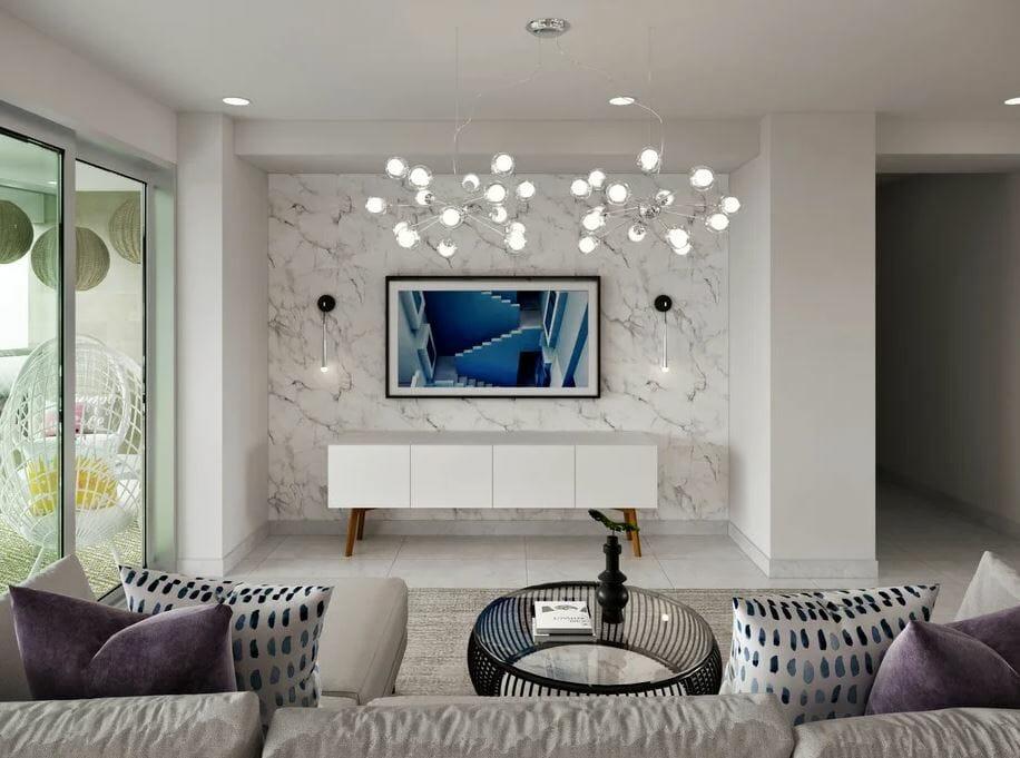 modern white condo design with blue accents