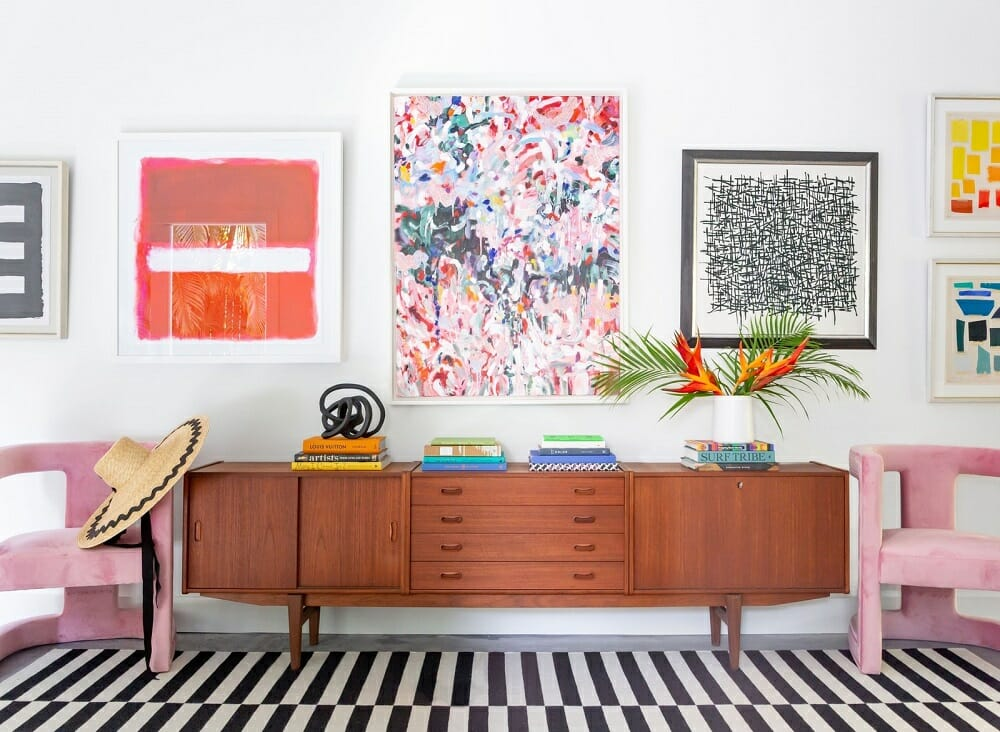 Modern abstract art in arty home