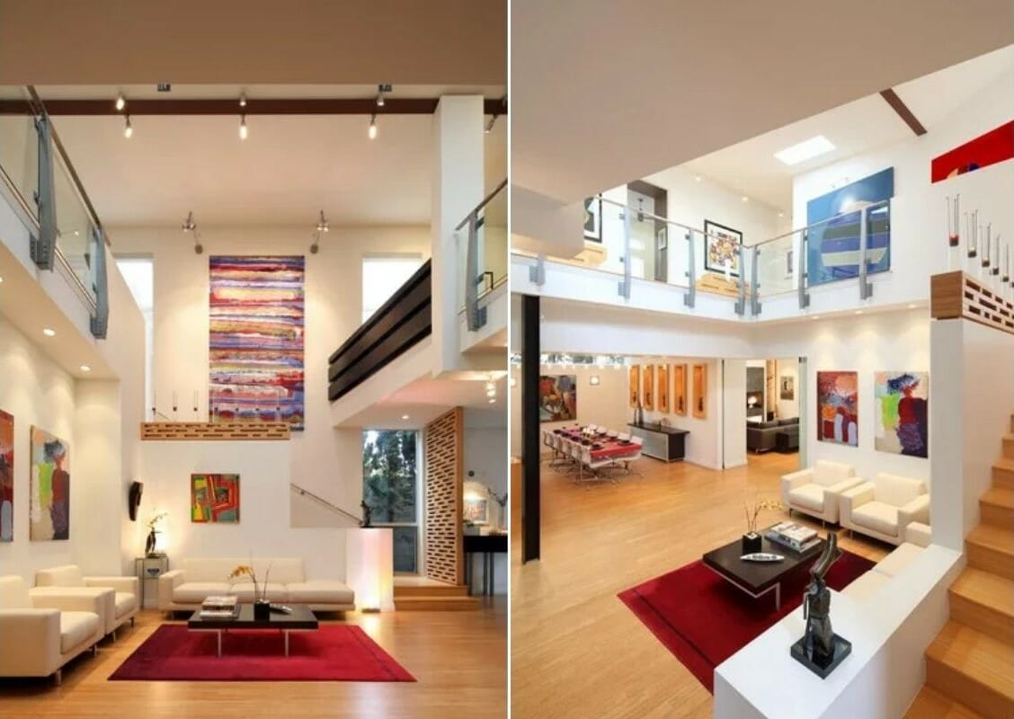 Modern color pops in a open plan interior