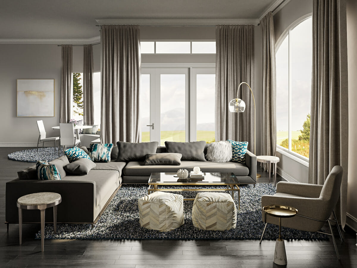 Modern interior design with touches of glam