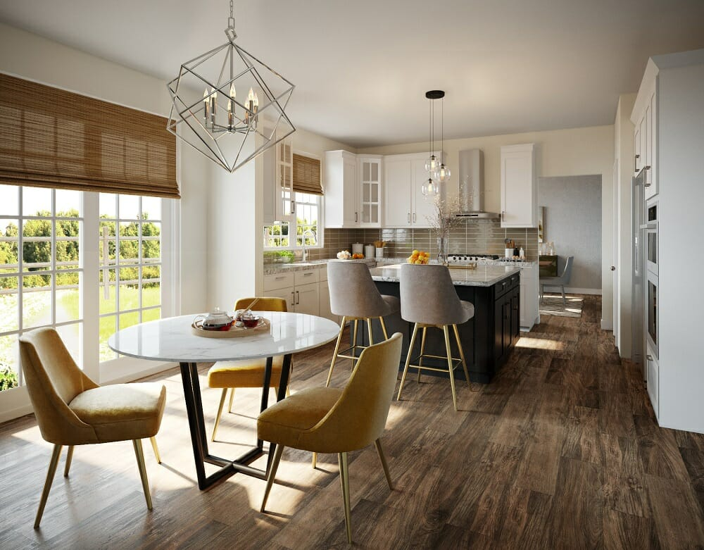 Chic kitchen and dining room with modern apartment decor by Sonia C