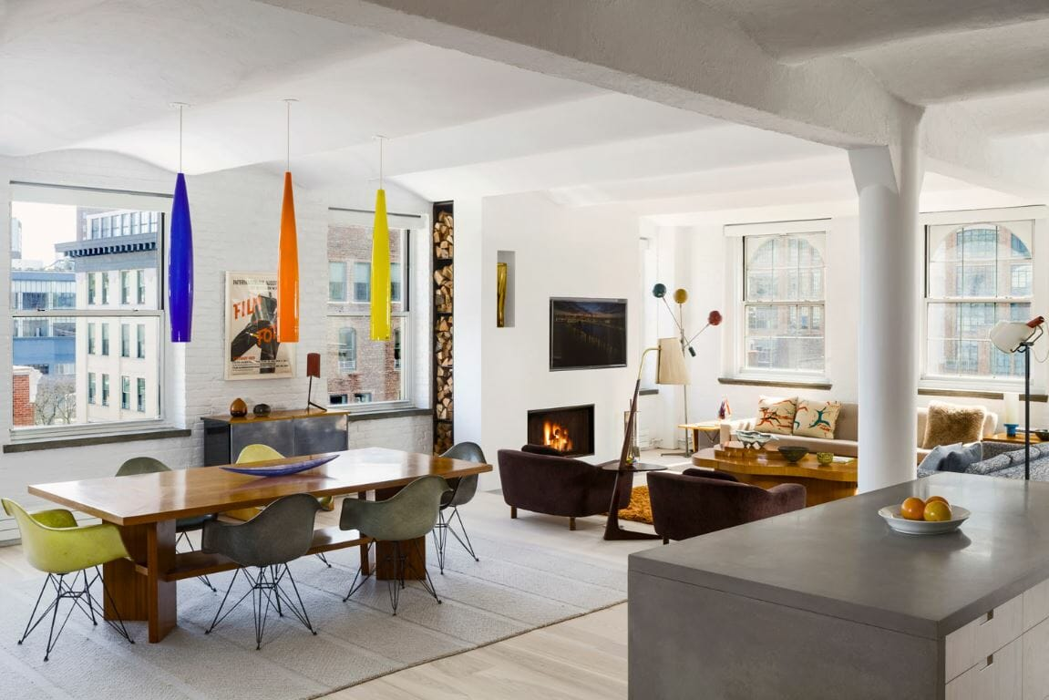 Colorful yet neutral eclectic interior with modern apartment decor by Specht