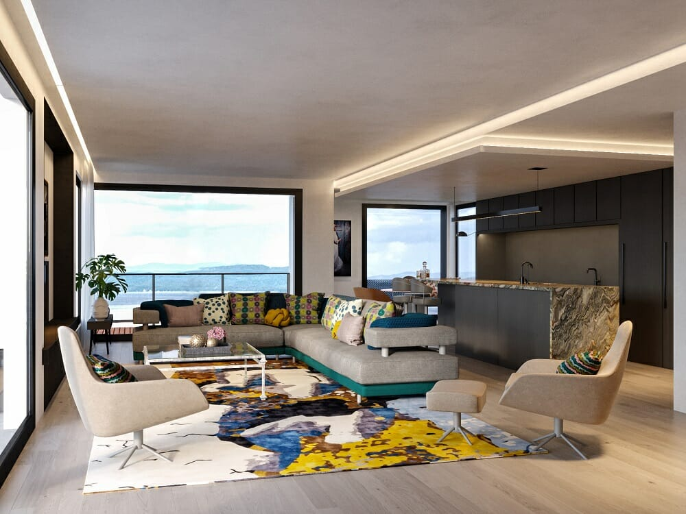 Eclectic living room with modern apartment decor