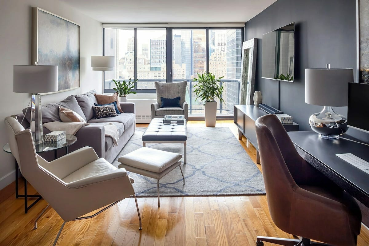 Modern apartment decor for a masculine bachelor pad