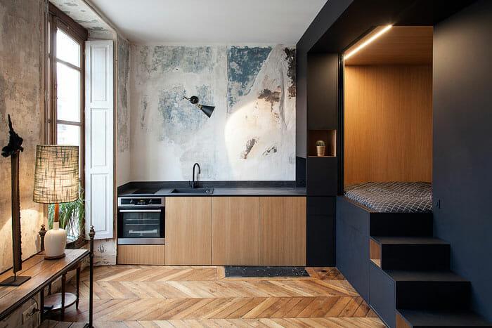Modern apartment decor for a rustic studio unit