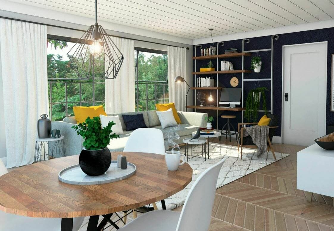 Modern apartment decor ideas in a light and contemporary living and dining room by Francis D