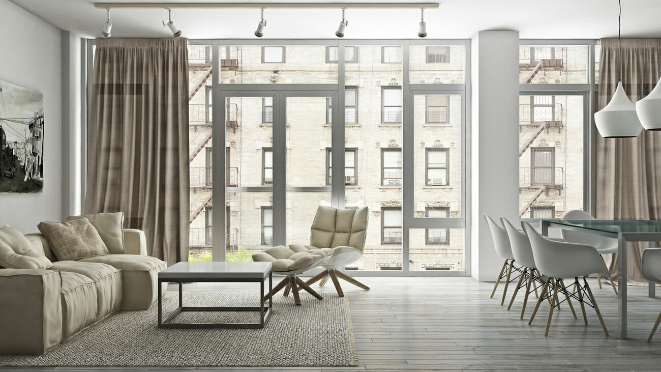 Bright modern apartment design with scandinavian decor elements