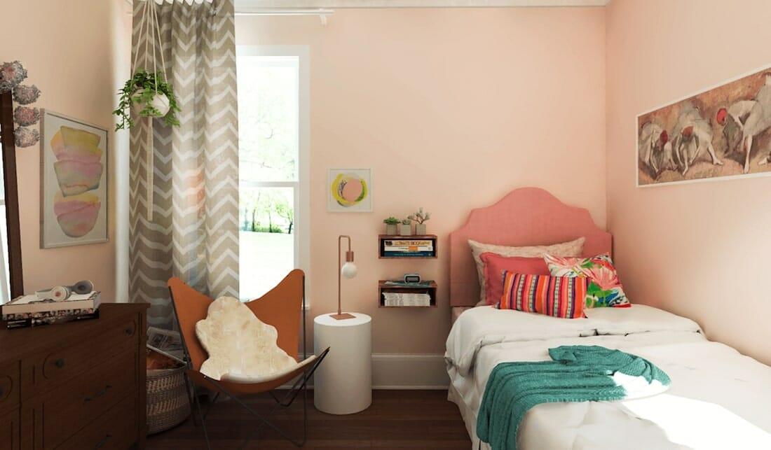 Cozy blush kids bedroom interior design