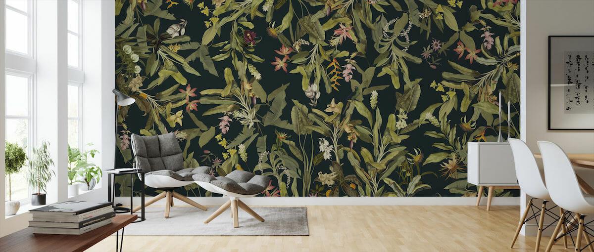 Dark and dramatic botanical wallpaper idea