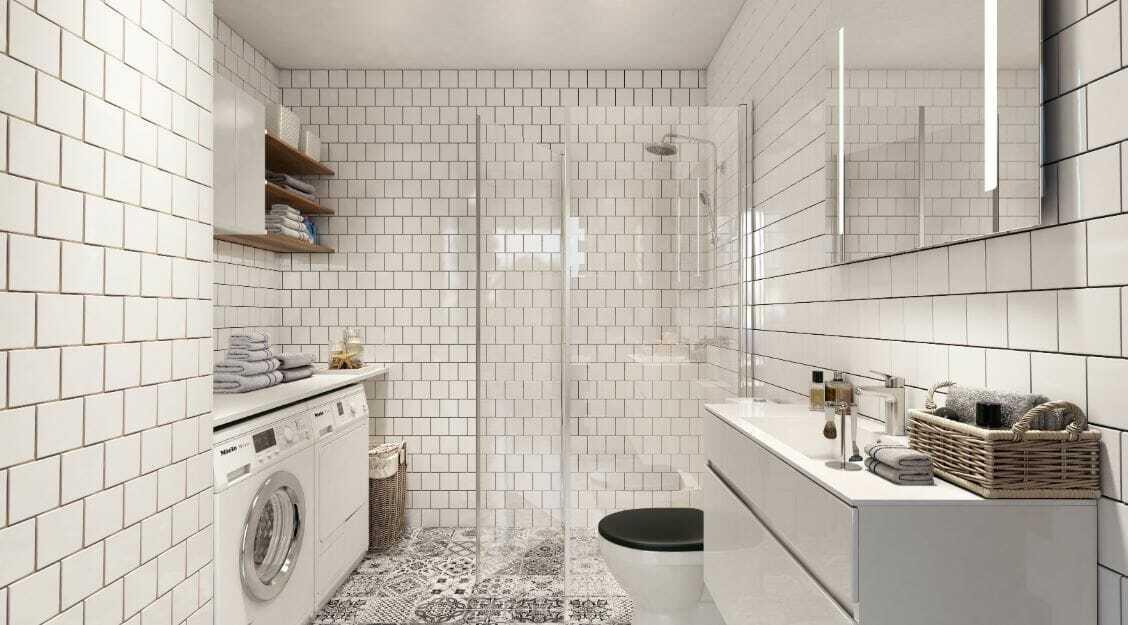 Laundry room design ideas rendering by Decorilla interior designer Hoang N.