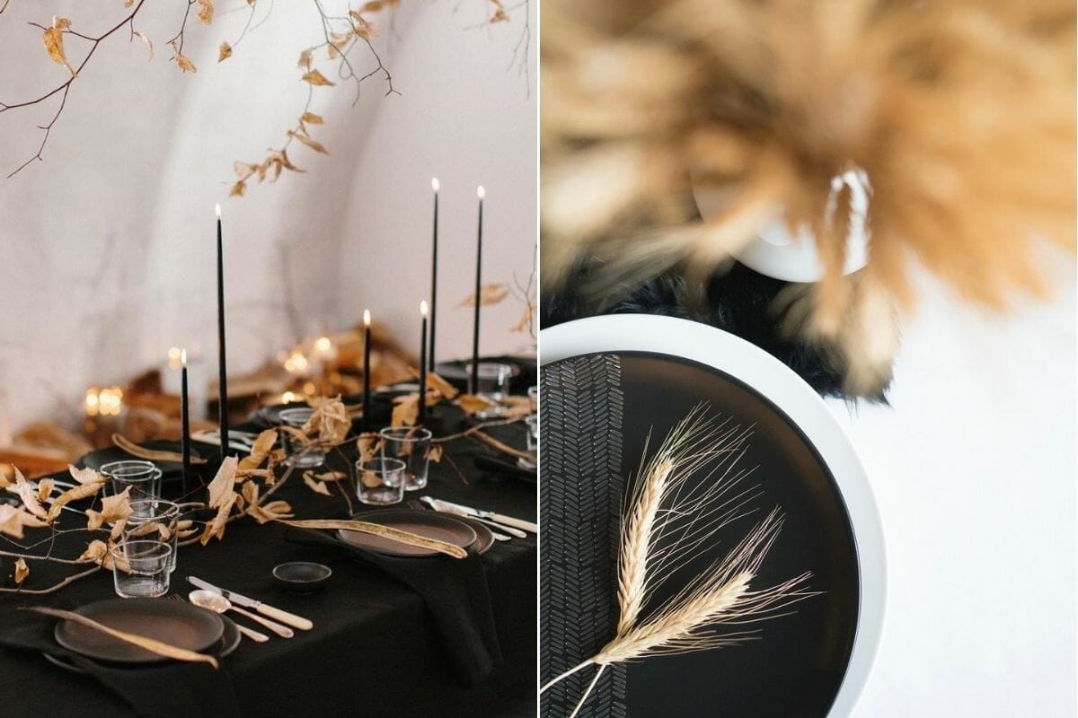 Black Thanksgiving table décor with natural wheat and slim candlesticks