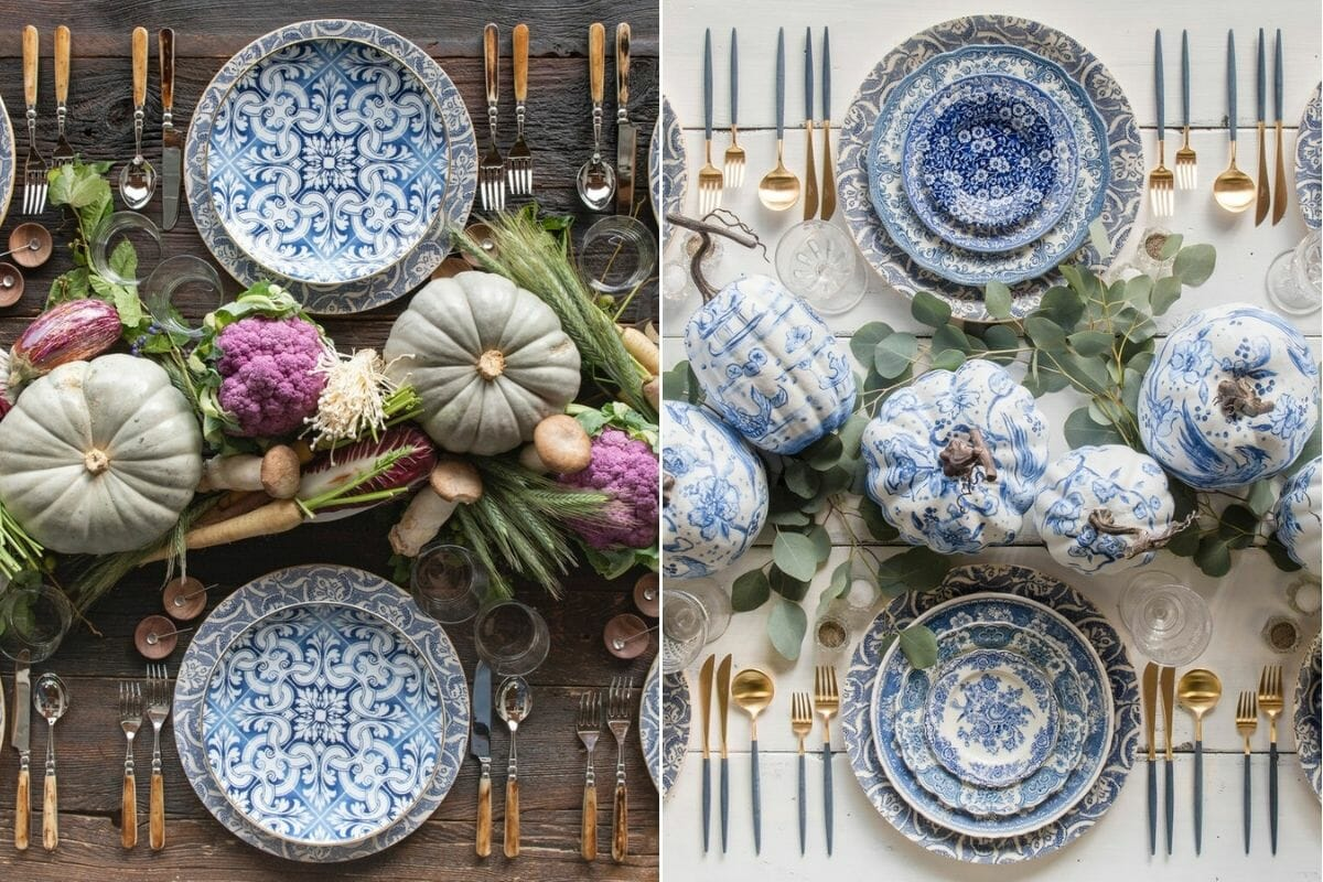 Blue table setting ideas as inspiration to decorate for Thanksgiving