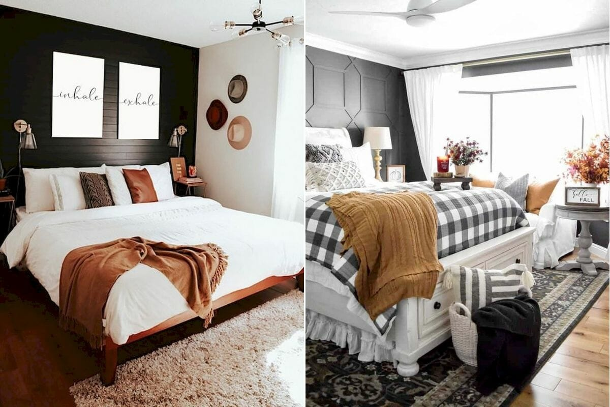 Cozy bedrooms with neutral Thanksgiving decoration ideas