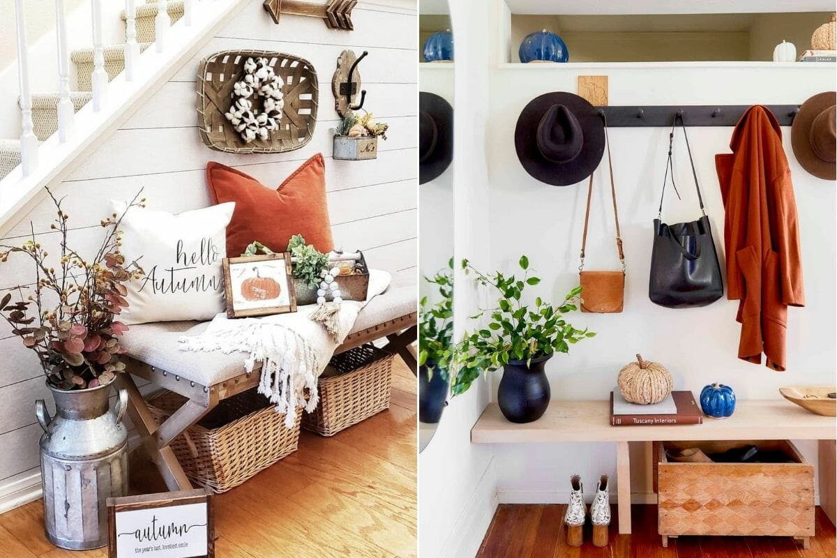 Decorate the entryway for Thanksgiving with orange and cream home decoration ideas