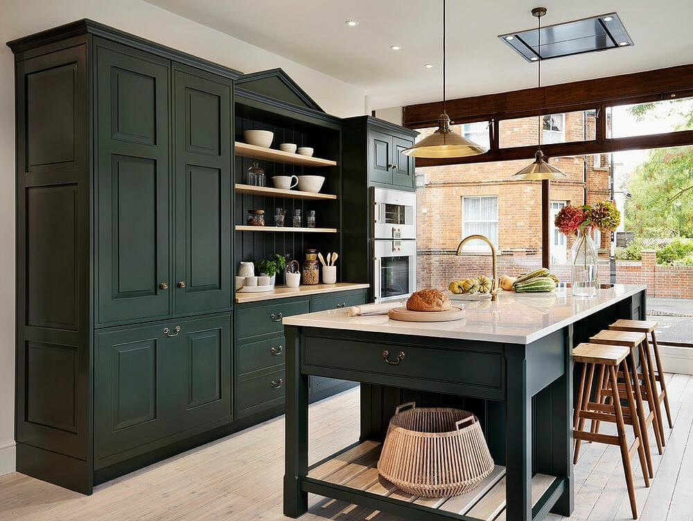 Green autumn color palette for a traditional kitchen