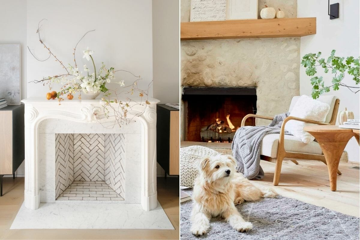 Minimal thanksgiving decorating ideas for a white mantelpiece and a natural and wood stone mantelpiece