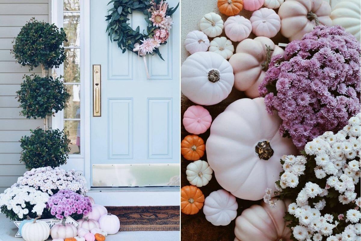Pink pumpkins and Thanksgiving door decor