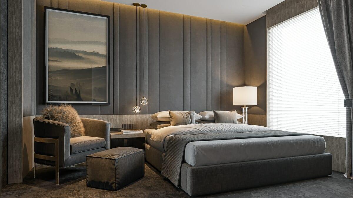 Relaxing masculine master bedroom by Decorilla designer Mladen C