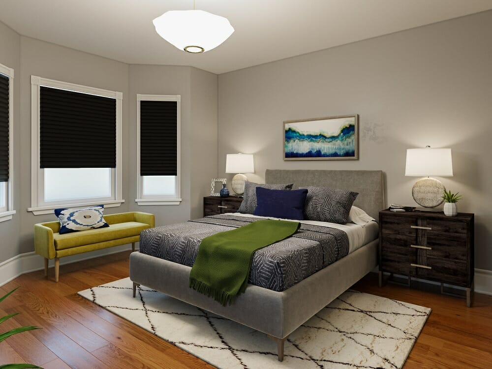Sophisticated bedroom in grey fall color schemes with pops of yellow and green by Rachel H