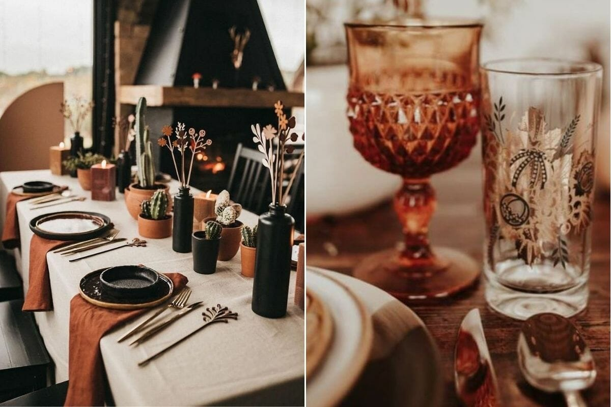 Terracotta and cream Thanksgiving colors make a stunning Thanksgiving table setting