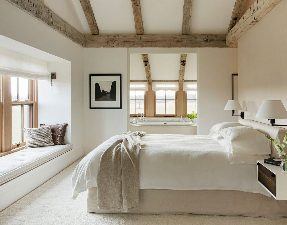 Wheat colored bedroom - neutral fall color palettes Lonny