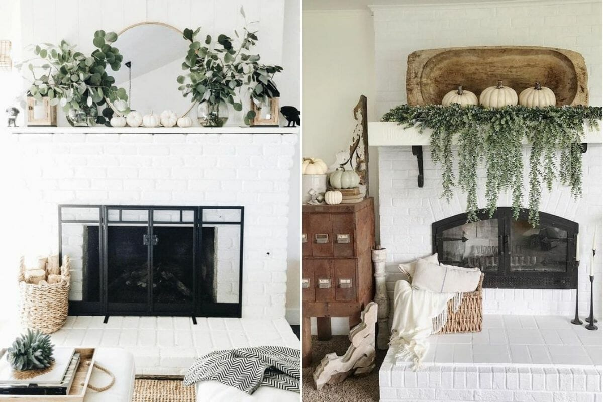 White mantelpieces with white pumpkins and green foliage make it easy to decorate for Thanksgiving