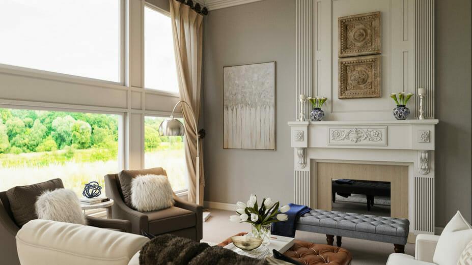 Elegant living room by top Detroit interior designer Rachel H