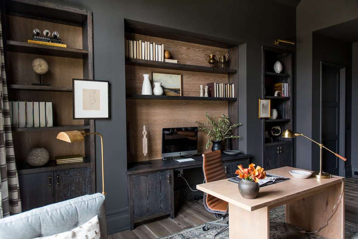 Moody home office background with builtin shelves by WhittneyParkinson