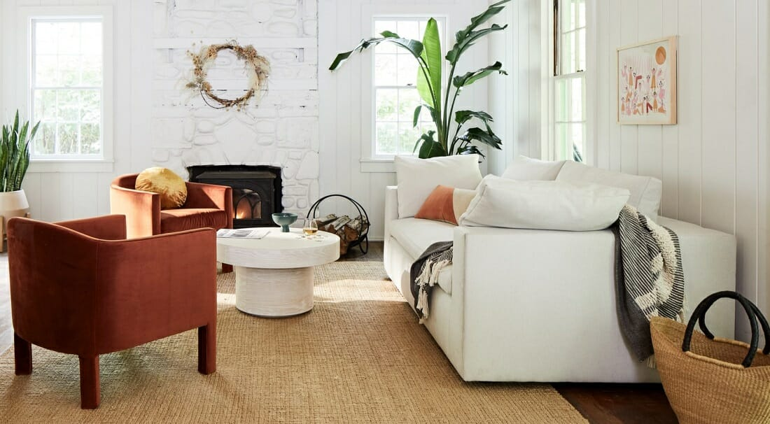 West Elm Cyber Monday rug and couch sales for the living room