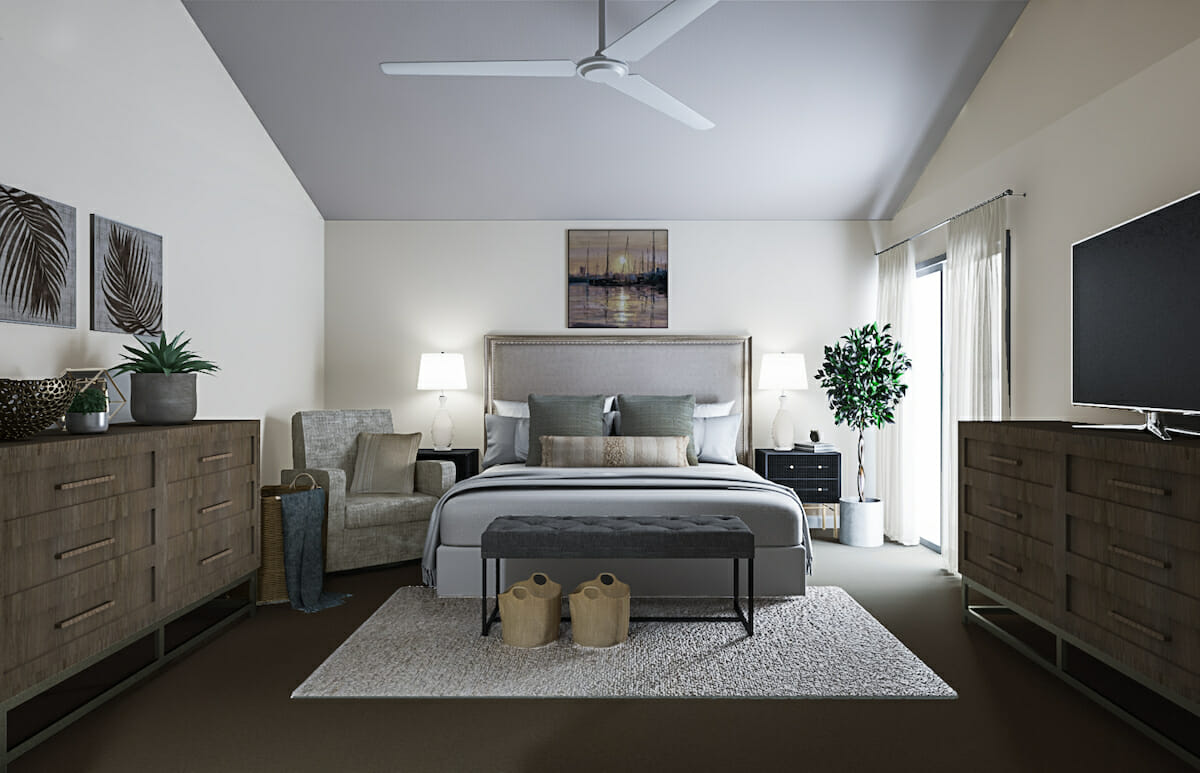 Beach chic decor bedroom design - Decorilla 3D rendering
