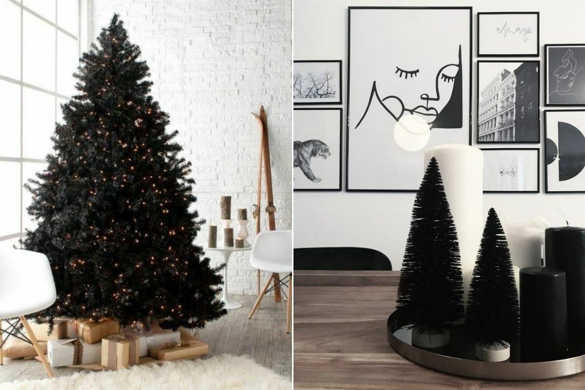 Black christmas tree with minimal christmas ornaments