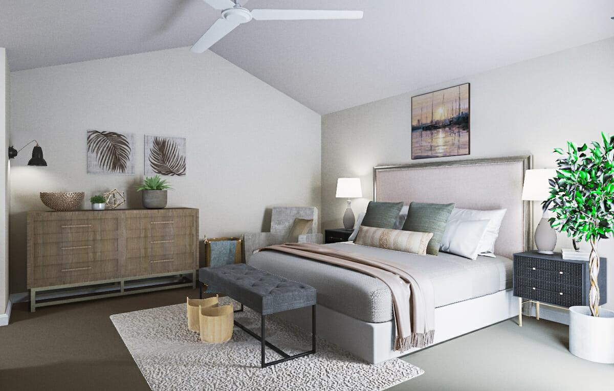 Coastal chic bedroom design - Decorilla 3D rendering