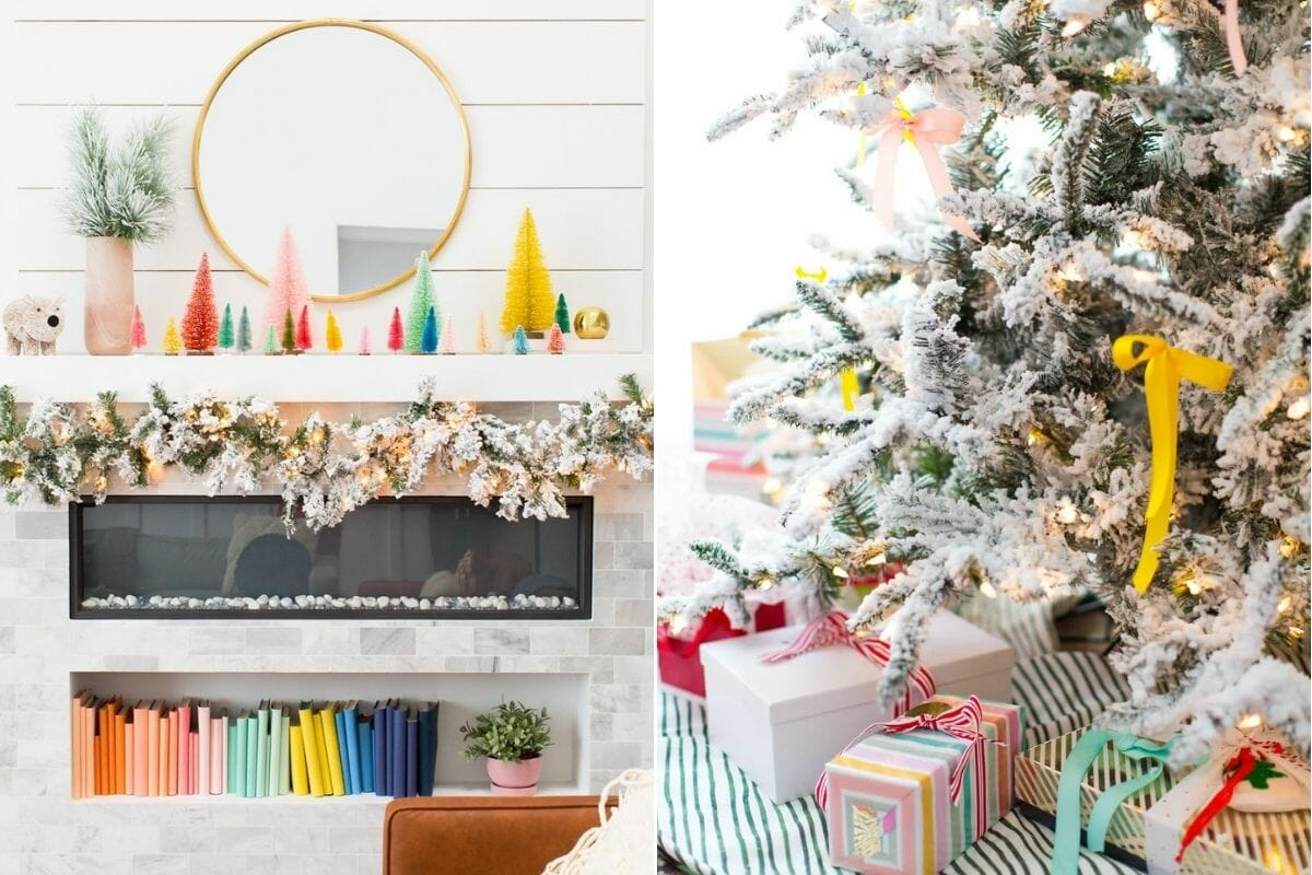 How to decorate for Christmas with colorful decor on a mantel and christmas tree