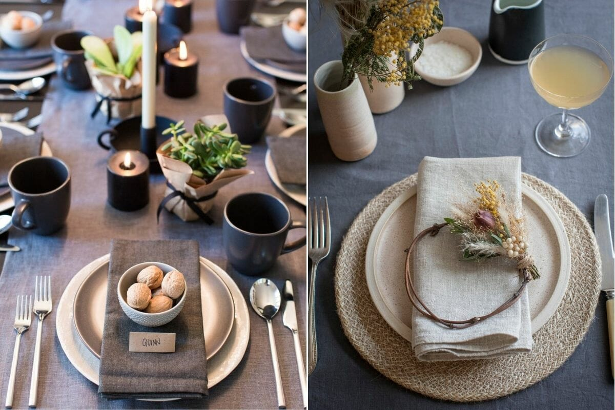 How to decorate for Christmas with natural elements on a table