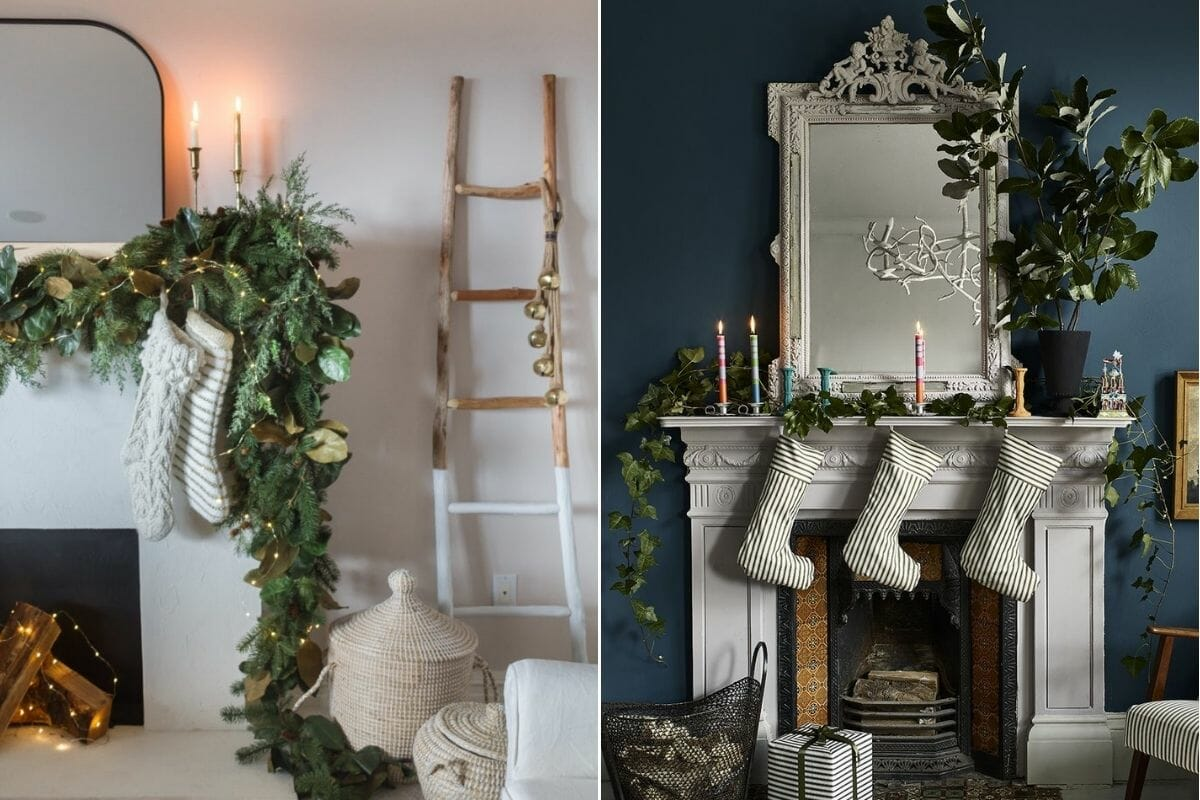 Natural and lush Christmas decorations and how to decorate a mantel for christmas