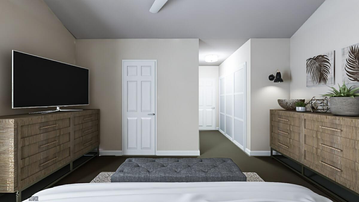 Online Beach Chic Bedroom Design – Decorilla 3D Rendering – After